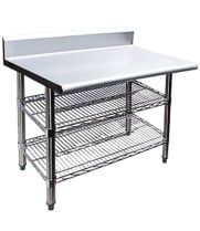 Work Tables with Backsplash & Wire Undershelves