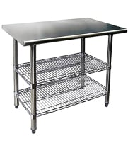 Work Tables with Wire Undershelves