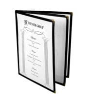 "Thunder Group PLMENU-L3BL - Black Three Page Menu Cover 8-1/2"" x 11"" (10 per Case)"