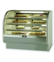 "Leader CVK57-D - 57"" Curved Glass Dry Bakery Display Case - FULLY STAINLESS STEEL - MIRRORS ON INTERIOR"