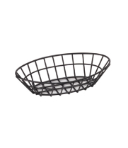 "GET Enterprises - 4-30144 - 9 3/4"" Oval Black Powder-coated Basket"