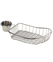 GET Enterprises - 4-80117 - Mini Stainless Boat Basket w/ Condiment Holder