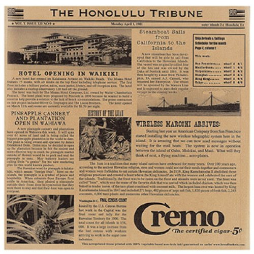 Clipper Mill - 4-TH1700 - Honolulu Tribune Newsprinted Tissue Liners - Case of 1000