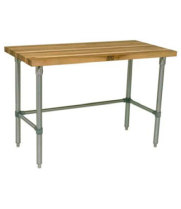 "John Boos HNB03 - 30"" X 24"" Butcher Block Work Table W/ Galvanized Cross Bar"