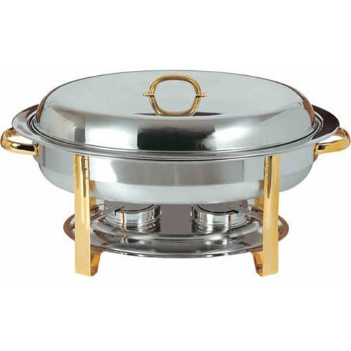 Update International DC-3 - 6 Qt - Stainless Steel Oval Gold-Accented Chafer