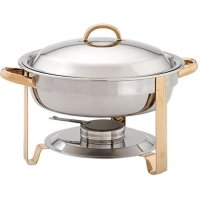 Update International DC-4/GB - 4 Qt - Stainless Steel Round Gold-Accented Chafer