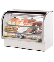 "True TCGG-60 60"" Deli Case - Single Service Curved Glass, White Exterior"
