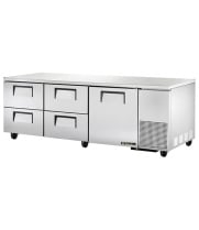 "True TUC-93D-4 - 93.25"" Deep Undercounter Refrigerator - 1 Door, 4 Drawers"