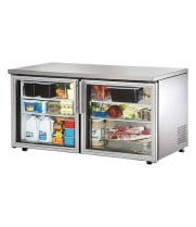 "True TUC-60G-LP - 60.5"" Low Profile Undercounter Refrigerator - 2 Glass Door 4 Shelves"