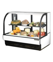 "True TCGR-59-CD - 60"" Curved Glass Cold Deli Case - 2 Doors, 1 Shelf"