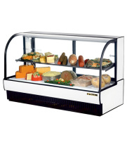 "True TCGR-77-CD - 78"" Curved Glass Cold Deli Case - 2 Doors, 1 Shelf"