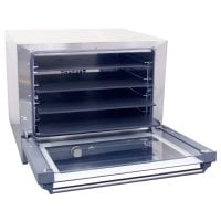 Cadco OV-023P - Half Size - Stainless Steel Convection Oven w/ Manual Control - 4 Pizza Heat Plate Shelves