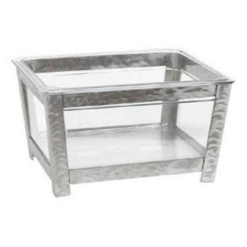 Buffet Enhancements - 010BR12-BRCL - Small Iron Ice Bin - Brushed Metal Frame - Clear Bin