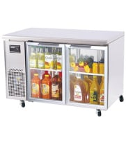 Turbo Air JUR-48-G - Side Mount Undercounter Refrigerator - 2 Glass Doors, 47.25""