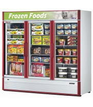 Turbo Air TGF-72SD -  Reach-In Freezer - 3 Full Glass Swing Door, 12 Shelves, 78""