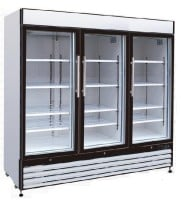 "Universal GDRF81SC 81"" Three Glass Door Reach In Freezer"
