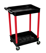 Luxor BKSTC11RD - Plastic 2 Shelf Utility Tub Cart - Black