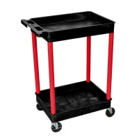 Luxor - BKSTC11RD - Plastic 2 Shelf Utility Tub Cart - Black