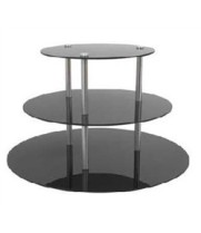 "Buffet Enhancements - 010RR24BK - 24"" Round Triple Tier Riser - Black"