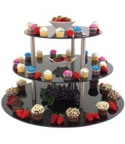 "Buffet Enhancements - 010RR30BK - 30"" Round Triple Tier Riser - Black"