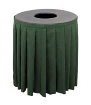 Buffet Enhancements 1BCTV32SET - Black Round Topper with Forest Green Skirting for 32 Gallon Trash Cans