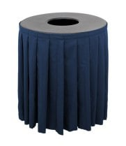 Buffet Enhancements 1BCTV32SET - Black Round Topper with Navy Skirting for 32 Gallon Trash Cans