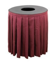 Buffet Enhancements 1BCTV44SET - Black Round Topper with Burgundy Skirting for 44 Gallon Trash Cans