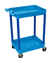 Luxor STC11BU - Plastic 2 Shelf Utility Tub Cart - Blue