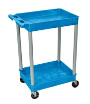 Luxor BUSTC11GY - Plastic 2 Shelf Utility Tub Cart - Blue