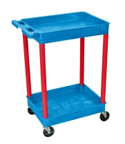 Luxor BUSTC11RD - Plastic 2 Shelf Utility Tub Cart - Blue