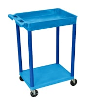Luxor STC12BU - Plastic 2 Shelf Utility Tub Cart - Blue