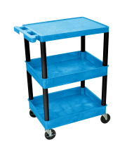 Luxor BUSTC211BK - Plastic 3 Shelf Utility Tub Cart - Blue