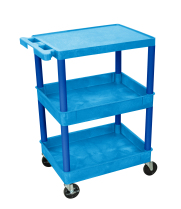 Luxor STC211BU - Plastic 3 Shelf Utility Tub Cart - Blue
