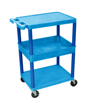 Luxor STC212BU - Plastic 3 Shelf Utility Tub Cart - Blue
