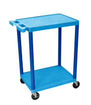 Luxor STC22BU - Plastic 2 Shelf Utility Tub Cart - Blue