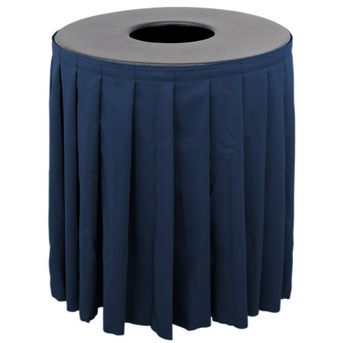 Buffet Enhancements 1BCTV44SET - Black Round Topper with Navy Skirting for 44 Gallon Trash Cans