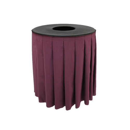 Buffet Enhancements 1BCTV44SET -  Black Round Topper with White Skirting for 44 Gallon Trash Cans