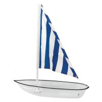 Buffet Enhancements - 010SBOAT-CLBS - Clear Jumbo Seafood Sailboat w/ Blue Striped Fabric Sail