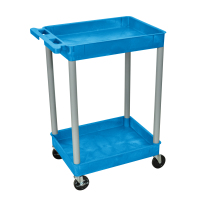 Luxor - BUSTC11GY - Plastic 2 Shelf Utility Tub Cart - Blue