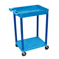 Luxor - STC12BU - Plastic 2 Shelf Utility Tub Cart - Blue