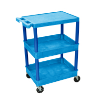 Luxor - STC211BU - Plastic 3 Shelf Utility Tub Cart - Blue