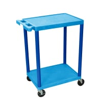 Luxor - STC22BU - Plastic 2 Shelf Utility Tub Cart - Blue