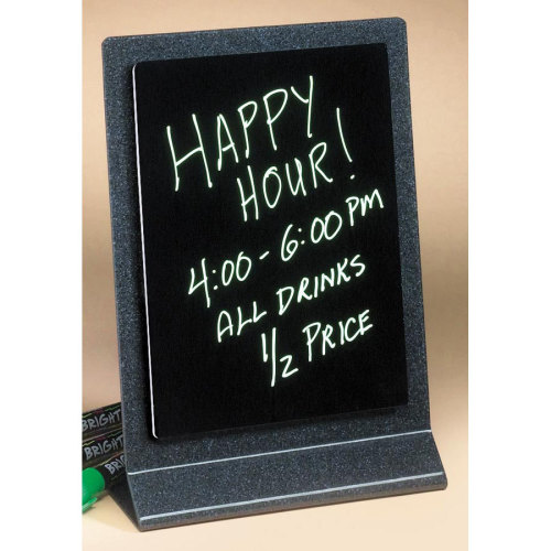 Universal 993-17 - Cal Mil Granite Look Write On Tabletop Sign Board w/ Black Marker Board