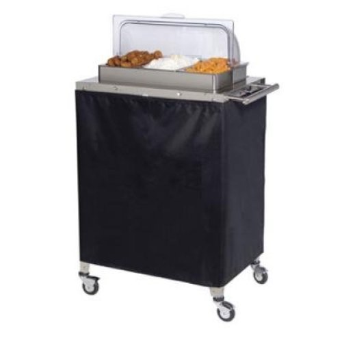 Cadco - CBC3RT - Triple Buffet Warming Cart w/ Clear Rolltop Lids
