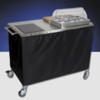 Cadco - CBCPHR6 - Stainless Steel Mobile Chef Cart w/ Glass Ceramic Range - Sixth Size Pans