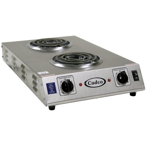 Cadco - CDR1TFB - Stainless Steel Double Space Saver Hot Plate - 6