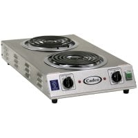 Cadco - CDR2TFB - Stainless Steel Double Space Saver Hot Plate - 8