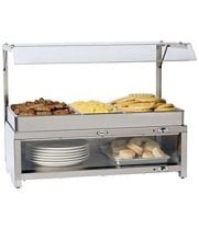 Cadco - CMLBCSG - Stainless Steel Warming Cabinet w/ Sneeze Guard & Buffet Server Top