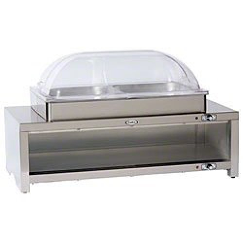 Cadco - CMLBC2RT - Stainless Steel Warming Cabinet w/ Buffet Server w/ Clear Roll-top Lid