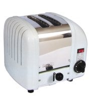 Cadco - CTW2 - White Stainless Steel Bagel Toaster - 2 Slots